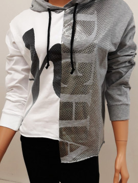 Deha Sweater mit kapuze grau weiß+
