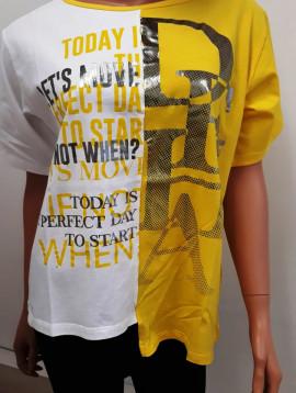 Deha shirt gelb weiß+