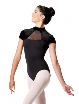 Lulli Tactel Turtleneck Leotard Valery with Velvet Short Sleeves
